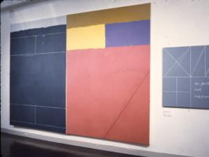 La Managua Consigna 1987 Acylic, oil on canvas 213cm X 328cm (two panels) One Fourth and One Fourth 1987 Acrylic, oil on canvas 87cm X 81cm