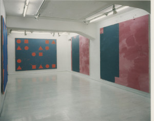 (left to right) Line Outside, H. Diptych A, 1996; Line Out-side, sosoj, , 1996; Line Outside, meneji, acrylic on canvas, 1996