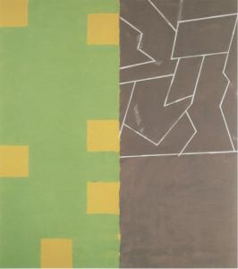Vakhtan Wood Pile, Green/Yellow  Oil + Acrylic on Cotton  224cm X 221cm    1993