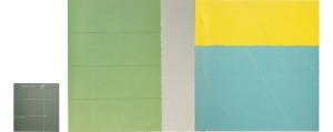 Azul Olancho 1987 Acrylic, oil on canvas 184cm X 328cm + Four and a Half 1987 acrylic on canvas 87cm X 81cm