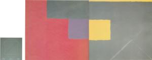 El Case en Nueva Segovia 1987 Acrylic, oil on canvas 145cm X 306cm (two panels) + One, Two, Three 1987 acrylic on canvas 92cm X 87cm