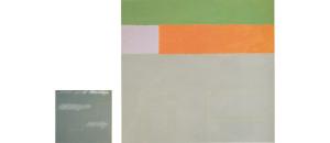 Una Noche en Masaya 1987 Acrylic, oil on canvas 236cm X 224cm + Sixteen Squares 1987 acrylic on canvas 87cm X 81cm