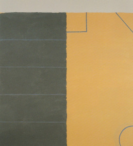 Line Outside with Three Shapes 1993 Oil, acrylic on cotton canvas 244cm X 221 cm